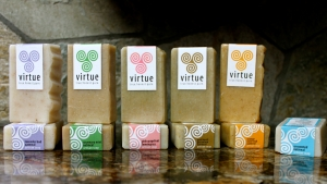 Virtue Naturals Soaps. At virtue, our all-natural, vegetable-based, cold-process, artisan soaps are made with saponified: olive oil, coconut oil, palm oil & enriched with: wheatgerm oil, jojoba oil, ground botanicals, pure essential oils, love …and nothing else.
